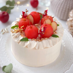 Apple/Christmas/cake/sweets/手作りおやつ/手作りデザート/... 🍎キャラメルクリームのショートケーキ  …