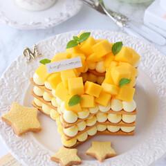 mango/手作りタルト/星型/マンゴータルト/クッキータルト/タルト/... ⭐️星型マンゴークッキーケーキ  フレッ…(3枚目)