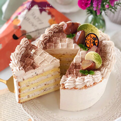 Cafe/cake/sweets/手作りおやつ/手作りケーキ/手作りデザート/... 🌰マロンケーキ  マロンクリームでデコレ…