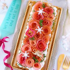 クリスマスケーキ/クリスマス/プレゼント/手作りお菓子/手作りケーキ/手作りおやつ/... 🍎アップルローズタルト  りんごの時季に…