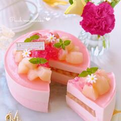 cake/Cafe/peach/sweets/ピーチ/おうちおやつ/... 🍑桃ムースケーキ  桃のコンポート入りム…