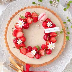 Cafe/cake/tarte/STRAWBERRY/cherry/sweets/... 🍓ミルクティーチーズタルト🍒  チーズフ…