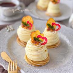 cake/Cafe/sweets/手作りおやつ/手作りスイーツ/手作りケーキ/... 🍠さつまいものモンブラン  実家から送っ…