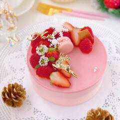 STRAWBERRY/cake/Cafe/sweets/おうちカフェ/手作りおやつ/... 🍓『いちご感たっぷりチーズムースケーキ♡…(2枚目)