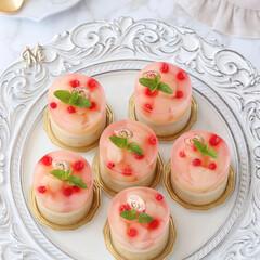 桃スイーツ/ムースケーキ/ムース/アールグレイ/ミルクティー/桃ゼリー/... 🍑桃&ミルクティームースケーキ  プチガ…(2枚目)