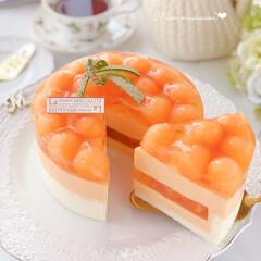 Cafe/cake/melon/sweets/おうちおやつ/萌え断/... 🍈メロンムースケーキ  赤肉メロン1個分…(1枚目)