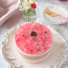 Cafe/cake/sweets/手作りお菓子/お菓子作り/おうちカフェ/... 🌸桜&抹茶ムースケーキ  春ですね  ス…(1枚目)