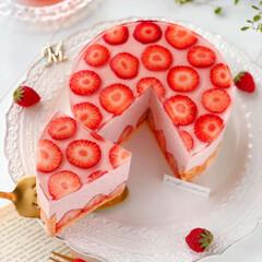 Cafe/cake/sweets/STRAWBERRY/萌え断/手作りお菓子/... 🍓苺ムースのシャルロット  いちごの水玉…(2枚目)