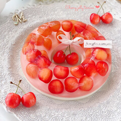 cherry/Cafe/sweets/JELLY/cake/さくらんぼ/... 🍒さくらんぼの浮き輪ゼリー  エンゼル型…