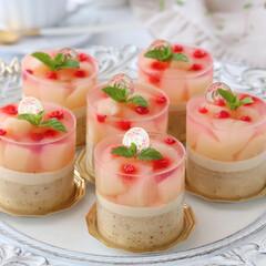 桃スイーツ/ムースケーキ/ムース/アールグレイ/ミルクティー/桃ゼリー/... 🍑桃&ミルクティームースケーキ  プチガ…(3枚目)