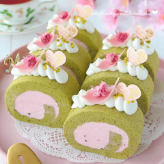 LIMIAスイーツ愛好会/LIMIAスイーツ同好会/LIMIAごはんクラブ/Cafe/cake/sweets/... 🌸桜の抹茶ロールケーキ  ふわふわな抹茶…