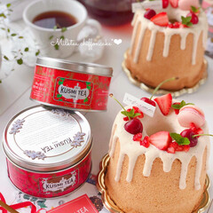 STRAWBERRY/chiffoncake/Cafe/cake/sweets/手作りデザート/... 🍃紅茶シフォンケーキ  Kusmi Te…