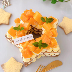 mango/Cafe/cake/sweets/手作りおやつ/手作りケーキ/... 🌟星型マンゴークッキーケーキ  今日は七…(2枚目)