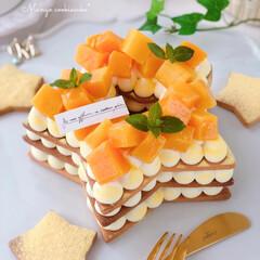 mango/Cafe/cake/sweets/手作りおやつ/手作りケーキ/... 🌟星型マンゴークッキーケーキ  今日は七…