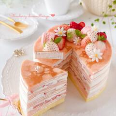 Cafe/cake/sweets/STRAWBERRY/手作りスイーツ/手作りおやつ/... 🍓ストロベリー♡チーズミルクレープ クッ…
