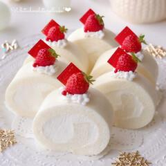 節分ロール/手作りデザート/手作りおやつ/手作りスイーツ/手作りケーキ/手作りお菓子/... 🍓ホワイトチョコロールケーキ  今日は節…
