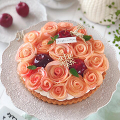 Apple/cake/Cafe/sweets/りんご/手作りおやつ/... 🍎アップルローズタルト  りんごの時季に…(2枚目)