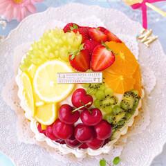 ビタミンカラー/カラフル/スイーツ作り/お菓子作り/手作りお菓子/手作りケーキ/... 🍓🍋🍊フルーツドームタルト🍇🥝🍒  カラ…