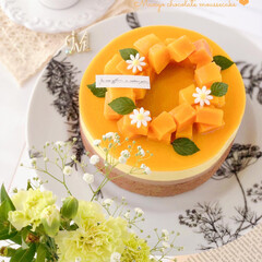 mango/Cafe/chocolate/cake/sweets/手作りデザート/... 🥭マンゴームースケーキ  トロピカルなマ…