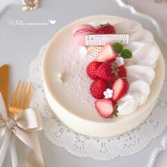 萌え断/STRAWBERRY/mousse/Cafe/yogurt/cake/... 🍓ホワイトムースケーキ  ホワイト生地に…
