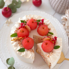 Apple/Christmas/cake/sweets/手作りおやつ/手作りデザート/... 🍎キャラメルクリームのショートケーキ  …(3枚目)