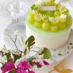 お菓子作り好きな人と繋がりたい/sweets/cake/Cafe/ケーキ/お花が好き/... 🍇贅沢ぶどうのレアチーズケーキ シャイン…(3枚目)