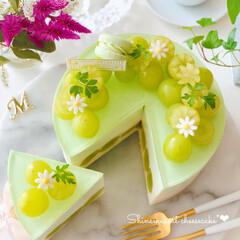 お菓子作り好きな人と繋がりたい/sweets/cake/Cafe/ケーキ/お花が好き/... 🍇贅沢ぶどうのレアチーズケーキ シャイン…