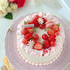 happybirthday/stayhome/cherry/Cafe/sweets/cake/... 🎂いちごとさくらんぼのデコレーションケー…(3枚目)