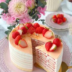 crepe/Cafe/cake/STRAWBERRY/sweets/おうちカフェ/... 🍓いちごのミルクレープ  いちごたっぷり…(1枚目)