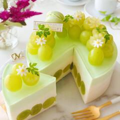 お菓子作り好きな人と繋がりたい/sweets/cake/Cafe/ケーキ/お花が好き/... 🍇贅沢ぶどうのレアチーズケーキ シャイン…(2枚目)