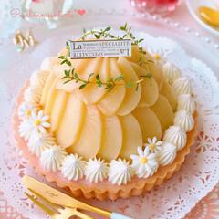 手作りケーキ/コンポート/可愛いスイーツ/ムース/夏スイーツ/お菓子/... 🍑桃ムースのドームタルト  コンポートし…