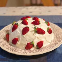 cake/手作りスイーツ/home made/🍘/誕生日ケーキ/手作りお菓子/... ストロベリードームケーキ🍓