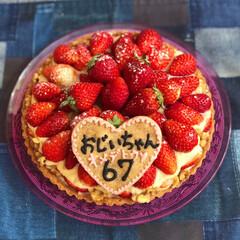 誕生日/マクロビスイーツ/手作りケーキ/home made/ヘルシースイーツ/ヘルシーケーキ/... 先日父の誕生日に🎂 卵、乳製品不使用の …
