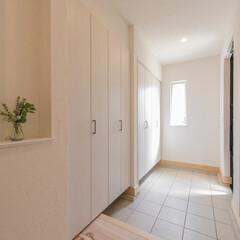 土間収納/玄関 玄関には、広々土間収納を設けました。