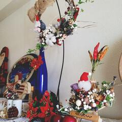 手作り/クリスマス/リース/リミアの冬暮らし/雑貨/ハンドメイド/... 出来上がり~~🙌 と、思っても思っても …
