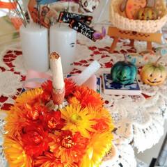感謝/ドライフラワー/ハンドメイド/ヘリクリサム/飾り付け/インテリア/... ♡ヘリクリサム ♡かぼちゃ  今朝、ちょ…(1枚目)