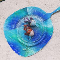 金魚/ペイント/蓮/うちわ/ハンドメイド/手作り/... ♡蓮の葉ペイント ♡うちわ ♡金魚  今…(1枚目)