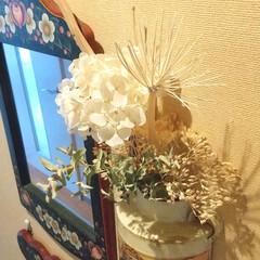 ドライフラワー/玄関あるある/雑貨/暮らし ♡ドライフラワー ♡紫陽花 その④  壁…