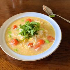 今日のランチ/雑炊/レシピ/ナンプラー/エスニック/ダイソー/... 今日はひとりブランチなので好きなものを。…(1枚目)