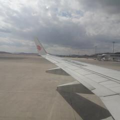 広島空港/空港/機内/中国国際航空/AIRCHINA/翼 中国国際航空機内 大連経由北京行き 広島…