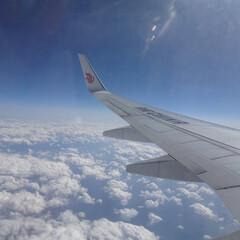 飛行機/巡行中/機内/国際線/広島から北京/翼/... 中国国際航空 機内 巡行中 日本の外へ