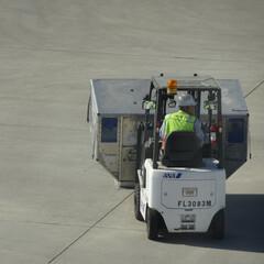 航空写真/駐機場/グランドハンドリング/グラハン/航空/航空貨物/... こんな運び方もあるんだ…知らなかった( …