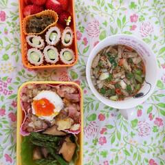 お弁当記録/ランチ 炭水化物ダイエット…のつもり…!!🥺 春…(1枚目)