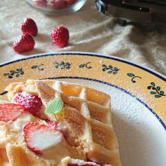 いちご/おうちカフェ/お昼ごはん/カスタードクリーム/ワッフル/LIMIAごはんクラブ/... 苺の美味しい季節 春休みの娘とワッフルを…