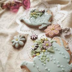 手作り/春/アイシングクッキー/ハンドメイド/暮らし/おうちカフェ アレルギーで生花がダメなら 食べられるお…