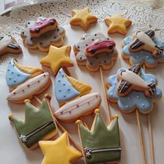 手土産/おうちおやつ/手作りクッキー/アイシングクッキー/子供部屋/七夕雑貨/... 2歳の男の子が好きなもの 車に飛行機、お…