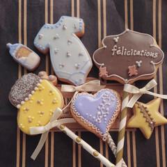 アイシングクッキー 幸せを運んでくれるbaby 周りのみんな…