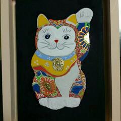 招き猫/日本画 日本画で、招き猫を描きました🙆