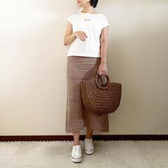 透かし編みニットスカート/春コーデ/ママファッション/おしゃれ/最近のコーデ 𓃟ﻌﻌﻌ❤︎𓃟ﻌﻌﻌ❤︎ * #ootd…