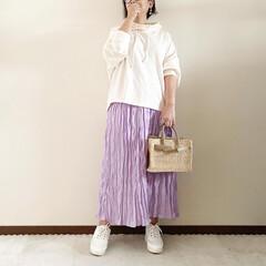 ワッシャースカート/ママファッション/大人カジュアル/春コーデ/ファッション 𓃟ﻌﻌﻌ❤︎𓃟ﻌﻌﻌ❤︎ * #ootd…